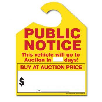 Public Notice Auction Hang Tags