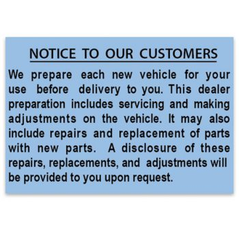 Laminated Damage Disclosure Notice