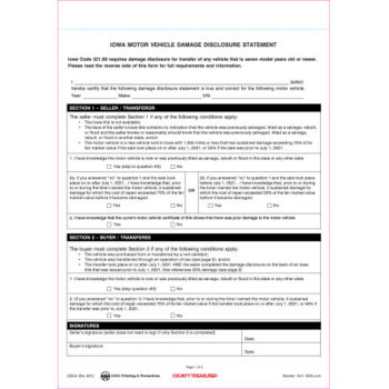Damage Disclosure Statement